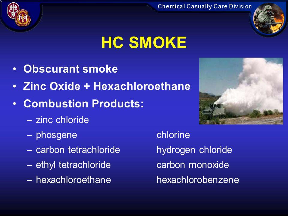 HC SMOKE Obscurant smoke Zinc Oxide + Hexachloroethane Combustion Products: –zinc chloride –phosgenechlorine –carbon tetrachloridehydrogen chloride –ethyl tetrachloridecarbon monoxide –hexachloroethanehexachlorobenzene
