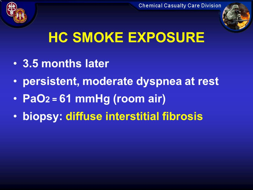 HC SMOKE EXPOSURE 3.5 months later persistent, moderate dyspnea at rest PaO 2 = 61 mmHg (room air) biopsy: diffuse interstitial fibrosis