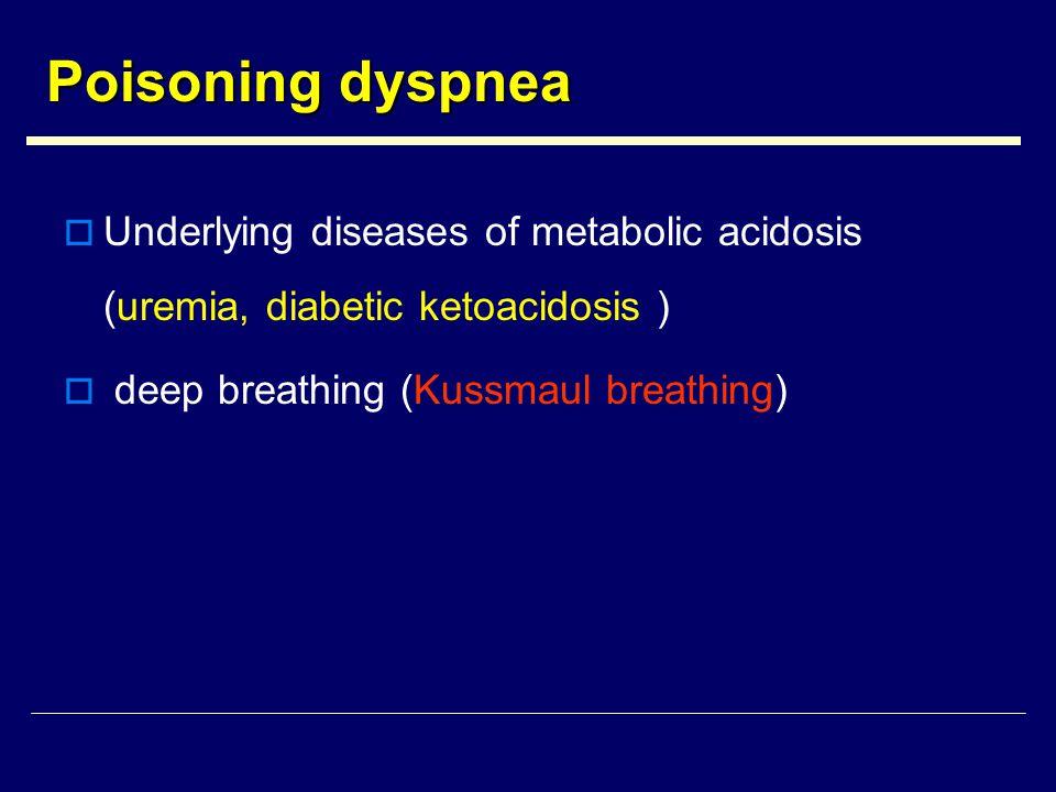 Poisoning dyspnea  Underlying diseases of metabolic acidosis (uremia, diabetic ketoacidosis )  deep breathing (Kussmaul breathing)