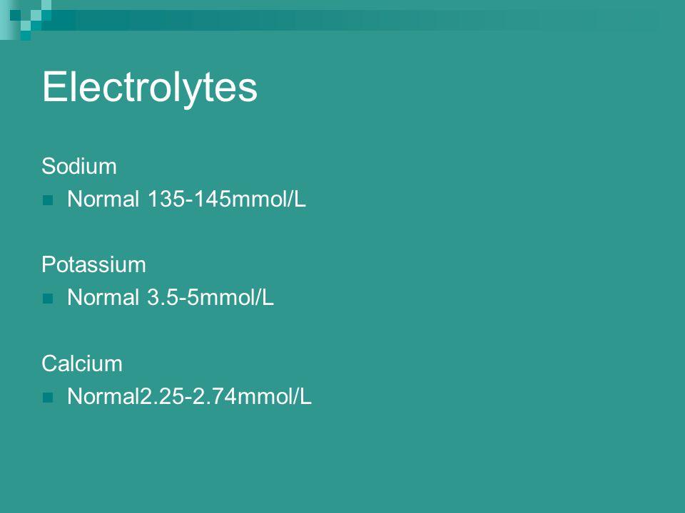 Electrolytes Sodium Normal 135-145mmol/L Potassium Normal 3.5-5mmol/L Calcium Normal2.25-2.74mmol/L