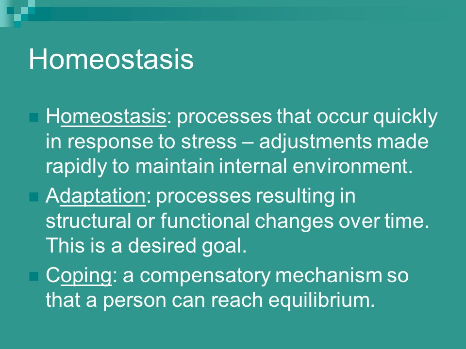 Homeostasis Homeostasis: processes that occur quickly in response to stress – adjustments made rapidly to maintain internal environment. Adaptation: p
