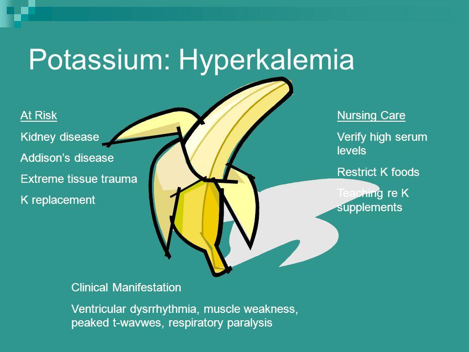 Potassium: Hyperkalemia At Risk Kidney disease Addison's disease Extreme tissue trauma K replacement Clinical Manifestation Ventricular dysrrhythmia,