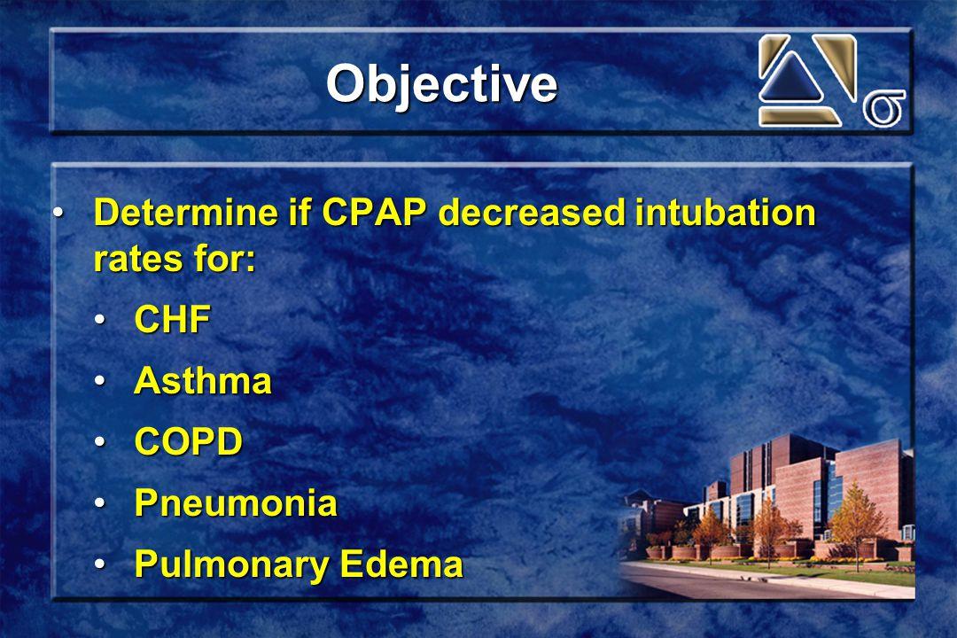 Objective Determine if CPAP decreased intubation rates for:Determine if CPAP decreased intubation rates for: CHFCHF AsthmaAsthma COPDCOPD PneumoniaPneumonia Pulmonary EdemaPulmonary Edema