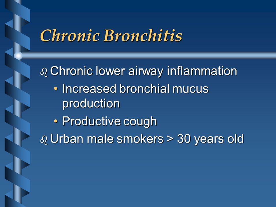 Chronic Bronchitis b Chronic lower airway inflammation Increased bronchial mucus productionIncreased bronchial mucus production Productive coughProduc