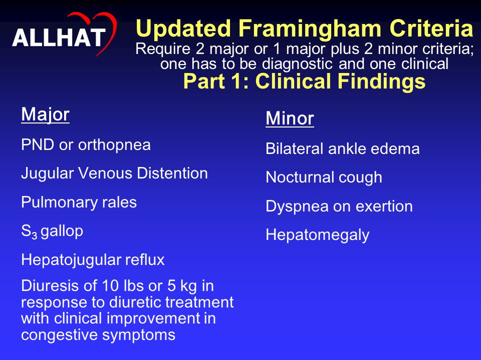 Updated Framingham Criteria Require 2 major or 1 major plus 2 minor criteria; one has to be diagnostic and one clinical Part 1: Clinical Findings Majo