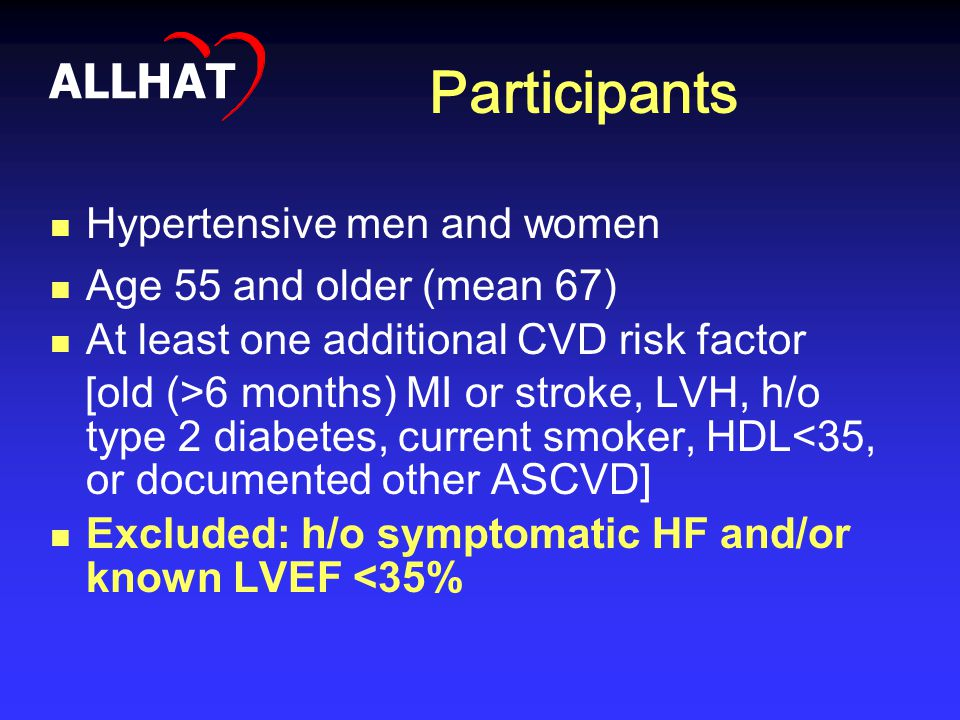Participants Hypertensive men and women Age 55 and older (mean 67) At least one additional CVD risk factor [old (>6 months) MI or stroke, LVH, h/o typ