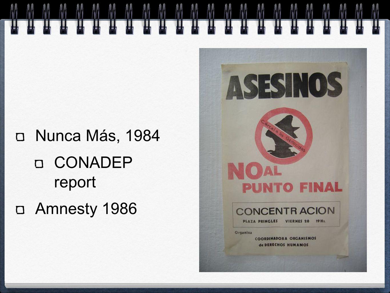 Nunca Más, 1984 CONADEP report Amnesty 1986