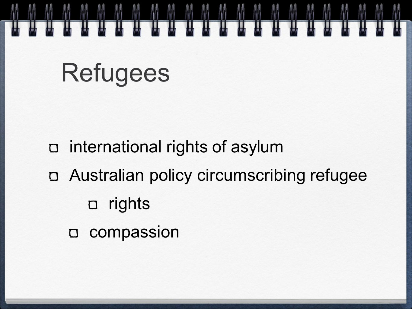 Refugees international rights of asylum Australian policy circumscribing refugee rights compassion