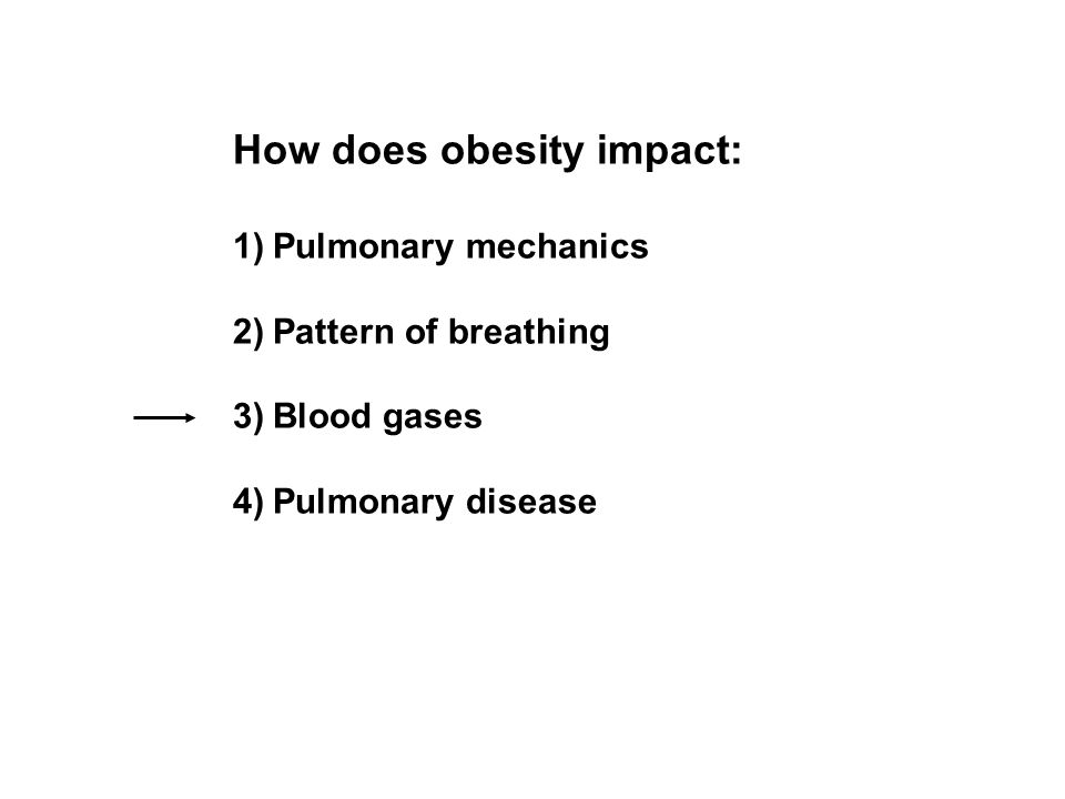 How does obesity impact: 1)Pulmonary mechanics 2)Pattern of breathing 3)Blood gases 4)Pulmonary disease