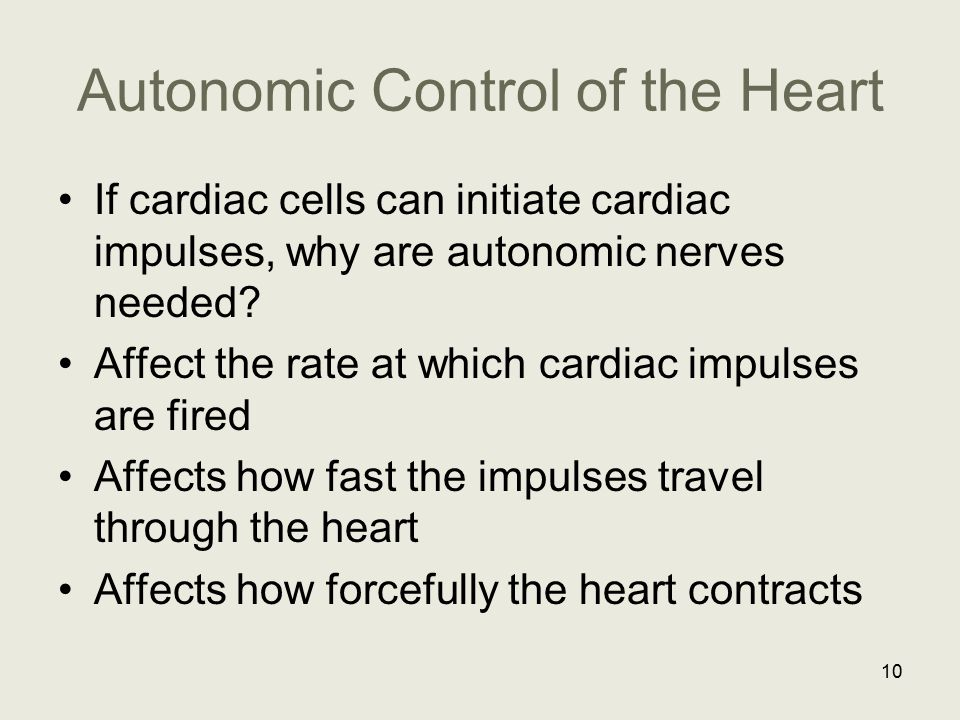 Autonomic Control of the Heart If cardiac cells can initiate cardiac impulses, why are autonomic nerves needed? Affect the rate at which cardiac impul