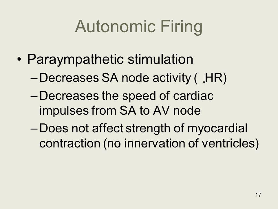 Autonomic Firing Paraympathetic stimulation –Decreases SA node activity ( HR) –Decreases the speed of cardiac impulses from SA to AV node –Does not af