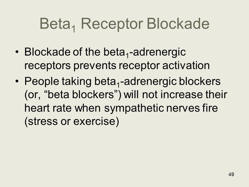 """Beta 1 Receptor Blockade Blockade of the beta 1 -adrenergic receptors prevents receptor activation People taking beta 1 -adrenergic blockers (or, """"bet"""