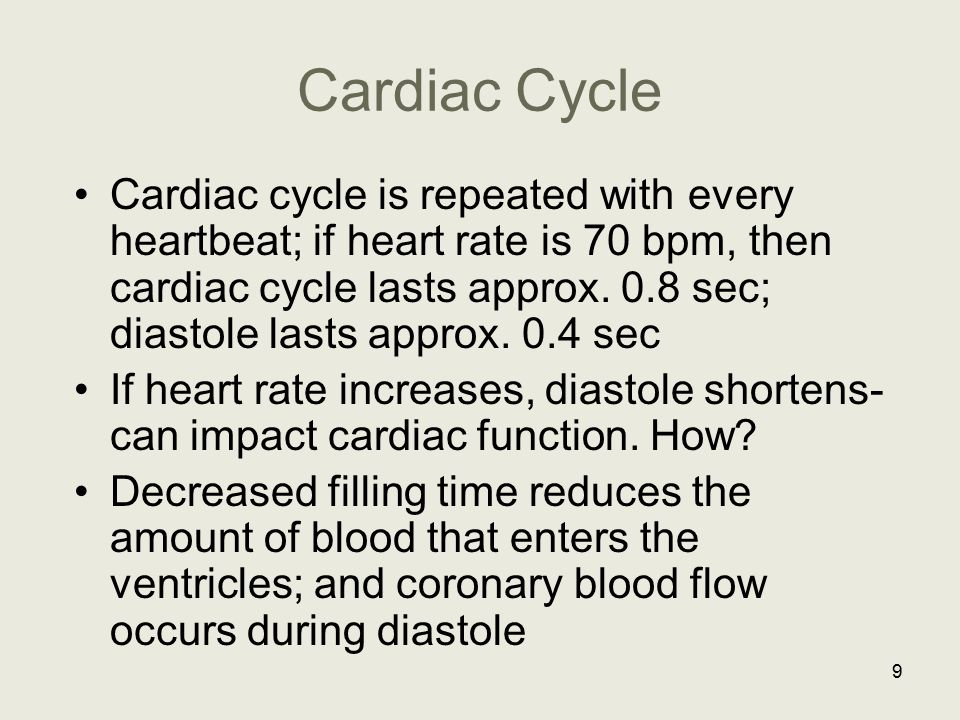 Cardiac Cycle Cardiac cycle is repeated with every heartbeat; if heart rate is 70 bpm, then cardiac cycle lasts approx. 0.8 sec; diastole lasts approx