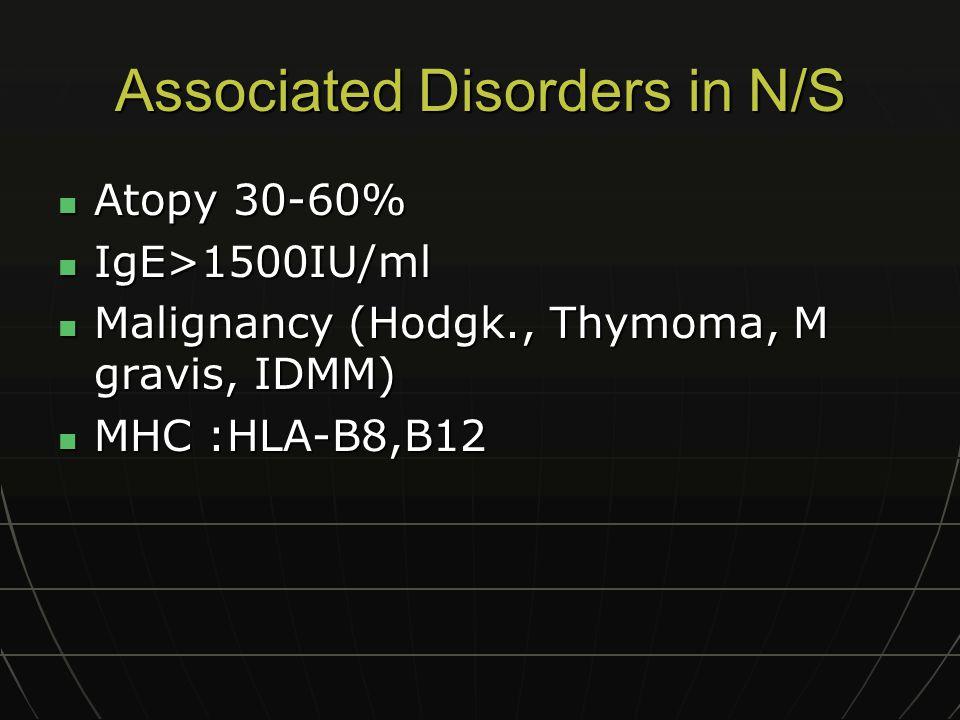 Associated Disorders in N/S Atopy 30-60% Atopy 30-60% IgE>1500IU/ml IgE>1500IU/ml Malignancy (Hodgk., Thymoma, M gravis, IDMM) Malignancy (Hodgk., Thy