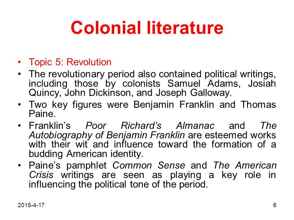 2015-4-177 Colonial literature Franklin's Poor Richard's Almanac and The Autobiography of Benjamin Franklin