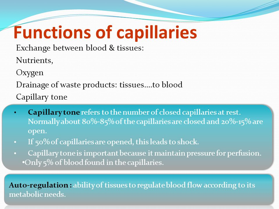 Functions of capillaries Exchange between blood & tissues: Nutrients, Oxygen Drainage of waste products: tissues….to blood Capillary tone Capillary tone refers to the number of closed capillaries at rest.