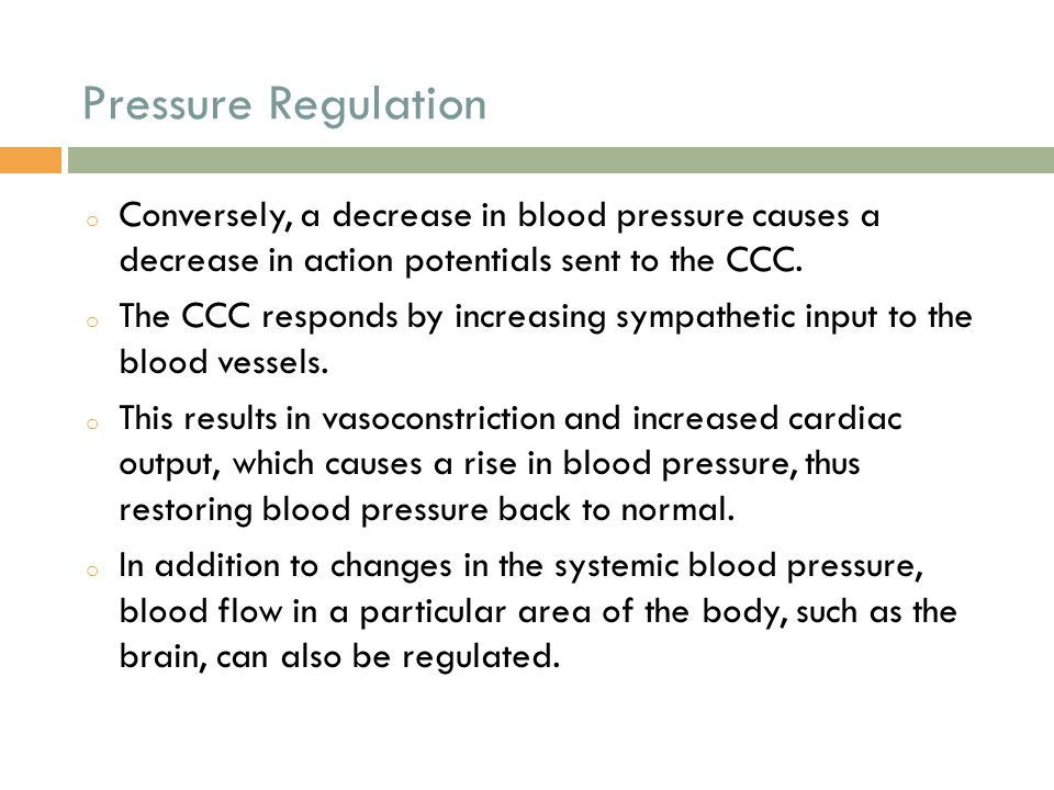 Pressure Regulation o Conversely, a decrease in blood pressure causes a decrease in action potentials sent to the CCC. o The CCC responds by increasin