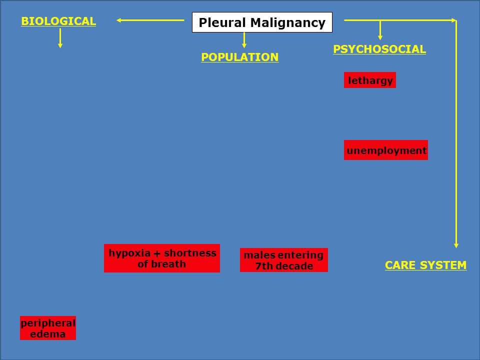 Pleural Malignancy males entering 7th decade lethargy unemployment hypoxia + shortness of breath peripheral edema PSYCHOSOCIAL POPULATION BIOLOGICAL CARE SYSTEM