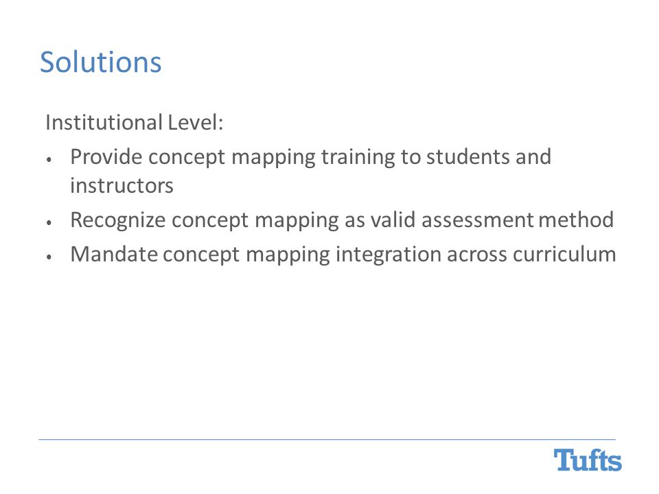 Solutions Institutional Level: Provide concept mapping training to students and instructors Recognize concept mapping as valid assessment method Manda