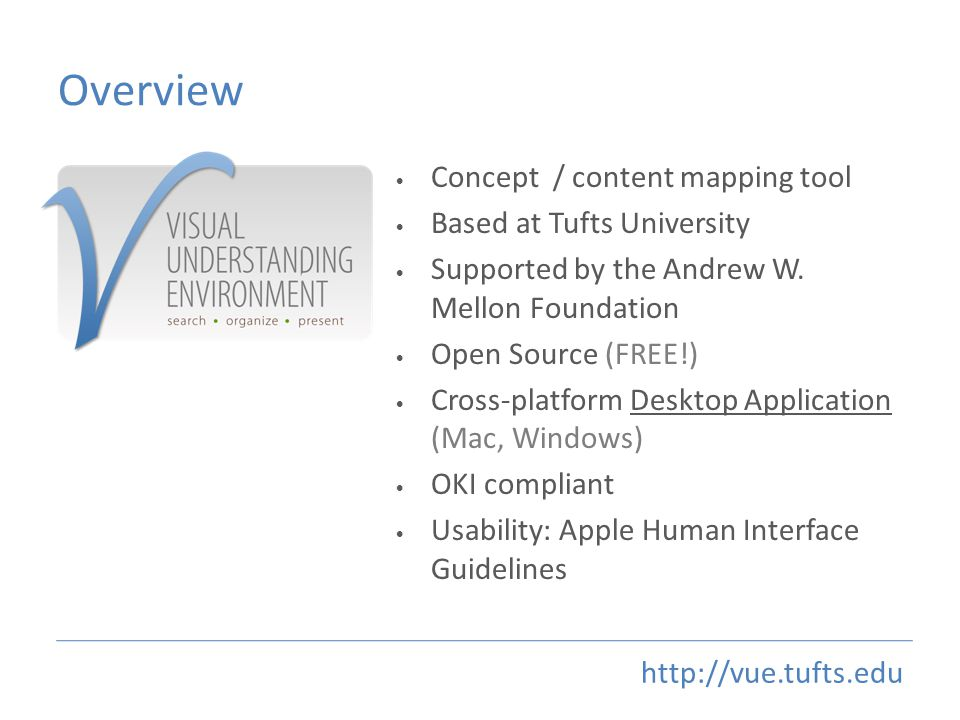 Overview Concept / content mapping tool Based at Tufts University Supported by the Andrew W.