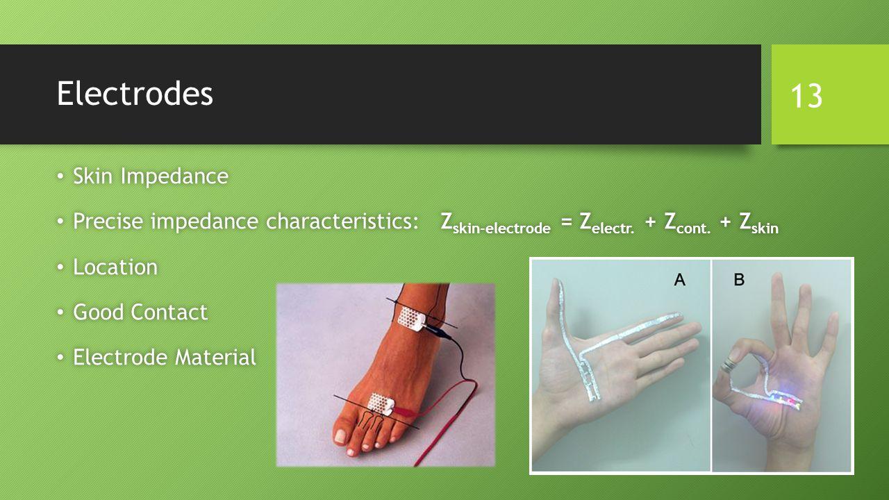 Electrodes Skin Impedance Skin Impedance Precise impedance characteristics: Z skin-electrode = Z electr. + Z cont. + Z skin Precise impedance characte