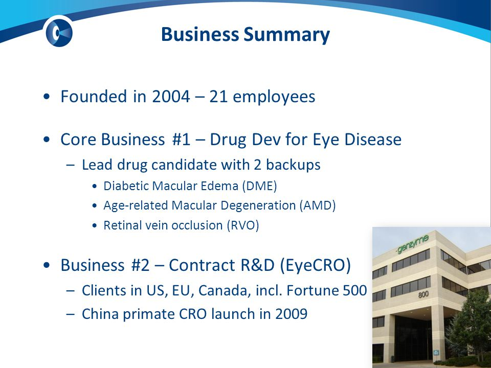 Business Summary Founded in 2004 – 21 employees Core Business #1 – Drug Dev for Eye Disease –Lead drug candidate with 2 backups Diabetic Macular Edema (DME) Age-related Macular Degeneration (AMD) Retinal vein occlusion (RVO) Business #2 – Contract R&D (EyeCRO) –Clients in US, EU, Canada, incl.
