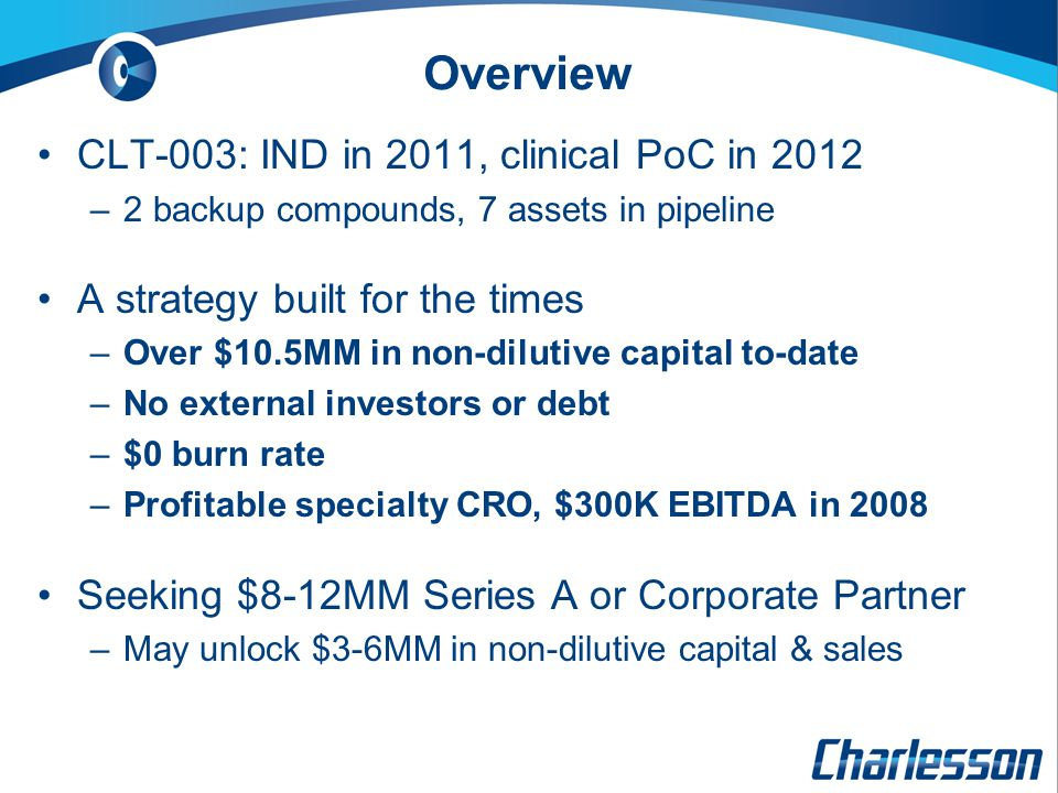 Overview CLT-003: IND in 2011, clinical PoC in 2012 –2 backup compounds, 7 assets in pipeline A strategy built for the times –Over $10.5MM in non-dilutive capital to-date –No external investors or debt –$0 burn rate –Profitable specialty CRO, $300K EBITDA in 2008 Seeking $8-12MM Series A or Corporate Partner –May unlock $3-6MM in non-dilutive capital & sales