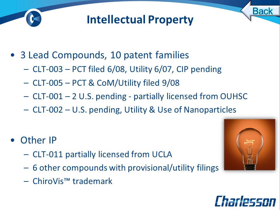 Intellectual Property 3 Lead Compounds, 10 patent families –CLT-003 – PCT filed 6/08, Utility 6/07, CIP pending –CLT-005 – PCT & CoM/Utility filed 9/08 –CLT-001 – 2 U.S.