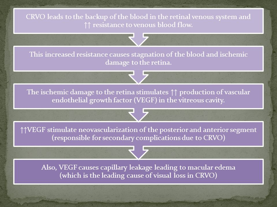 Also, VEGF causes capillary leakage leading to macular edema (which is the leading cause of visual loss in CRVO) ↑↑ VEGF stimulate neovascularization of the posterior and anterior segment (responsible for secondary complications due to CRVO) The ischemic damage to the retina stimulates ↑↑ production of vascular endothelial growth factor (VEGF) in the vitreous cavity.