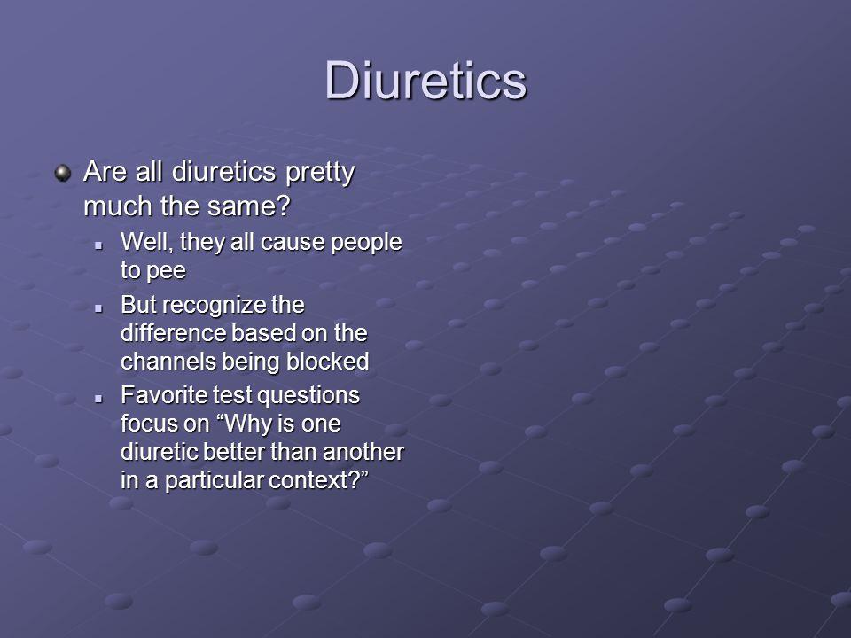 Diuretics Are all diuretics pretty much the same.