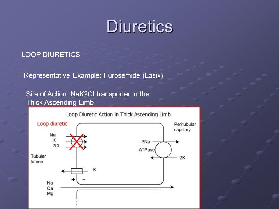 Diuretics LOOP DIURETICS Representative Example: Furosemide (Lasix) Site of Action: NaK2Cl transporter in the Thick Ascending Limb