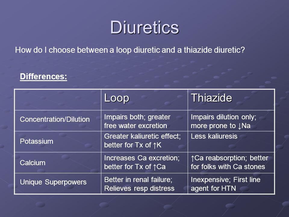Diuretics How do I choose between a loop diuretic and a thiazide diuretic.