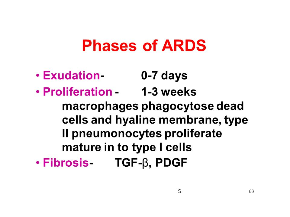 Phases of ARDS Exudation-0-7 days Proliferation -1-3 weeks macrophages phagocytose dead cells and hyaline membrane, type II pneumonocytes proliferate
