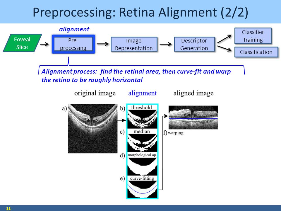 Preprocessing: Retina Alignment (2/2) 11 Alignment process: find the retinal area, then curve-fit and warp the retina to be roughly horizontal Pre- processing Pre- processing Image Representation Image Representation Descriptor Generation Descriptor Generation Classifier Training Classification Foveal Slice alignment