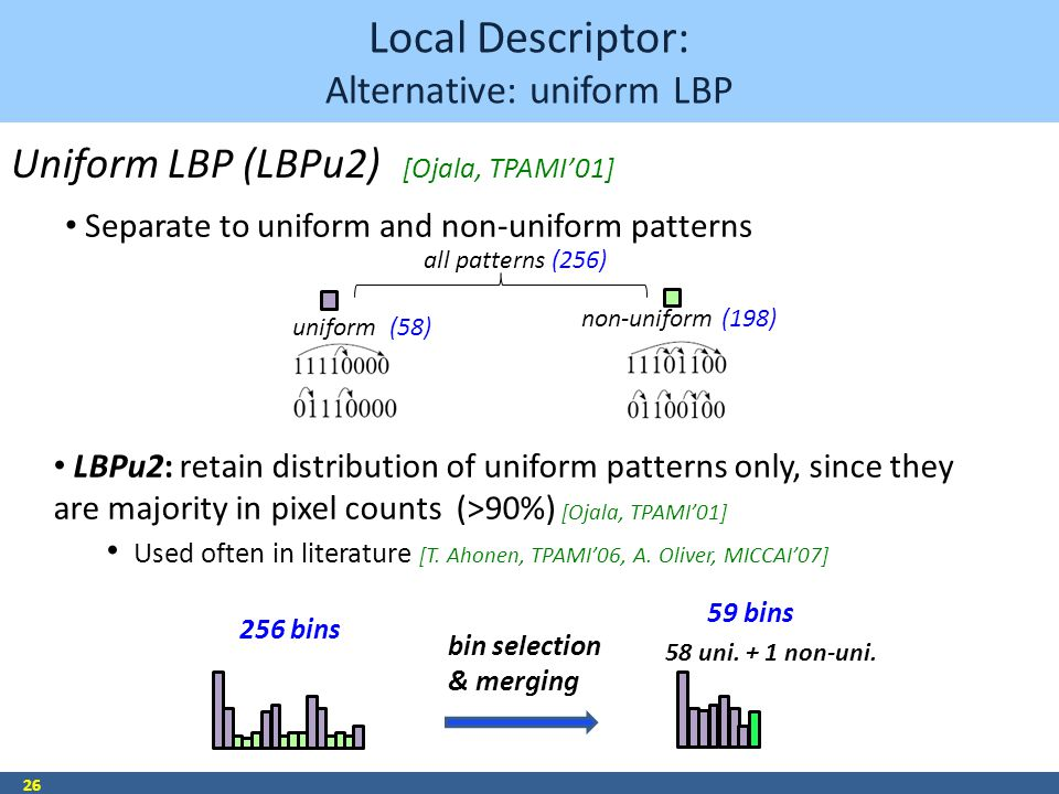 Local Descriptor: Alternative: uniform LBP 26 256 bins 59 bins bin selection & merging Uniform LBP (LBPu2) all patterns (256) uniform (58) non-uniform (198) LBPu2: retain distribution of uniform patterns only, since they are majority in pixel counts (>90%) [Ojala, TPAMI'01] Used often in literature [T.