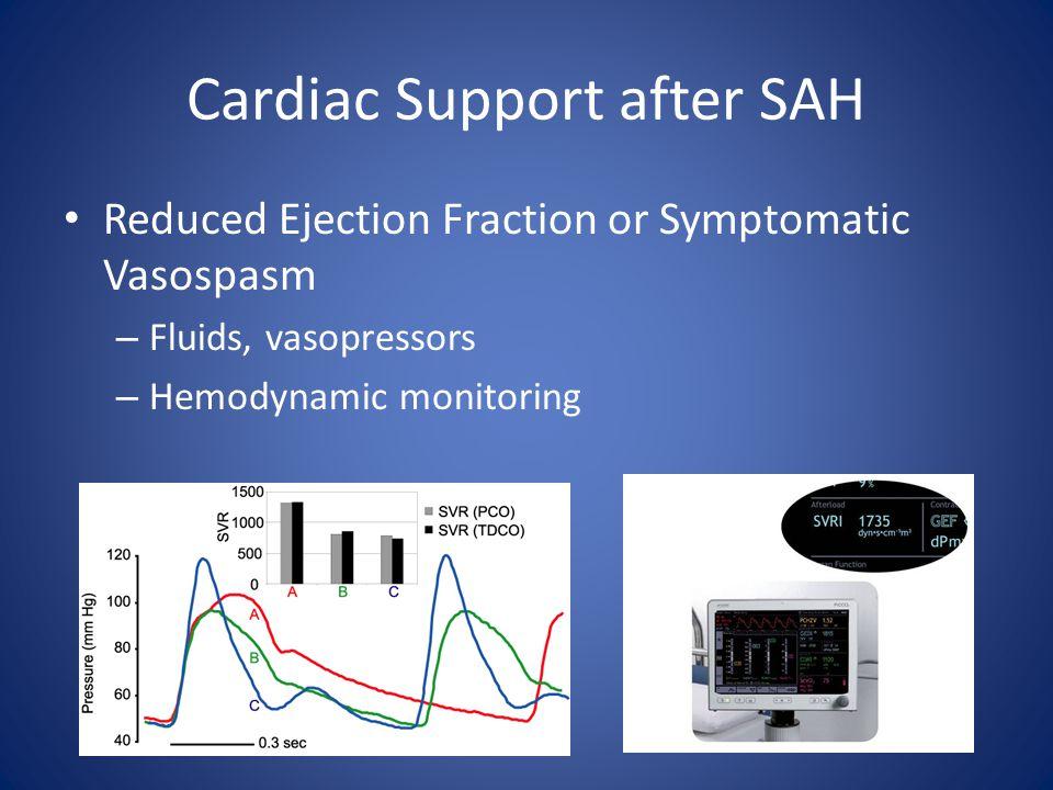 Cardiac Support after SAH Reduced Ejection Fraction or Symptomatic Vasospasm – Fluids, vasopressors – Hemodynamic monitoring