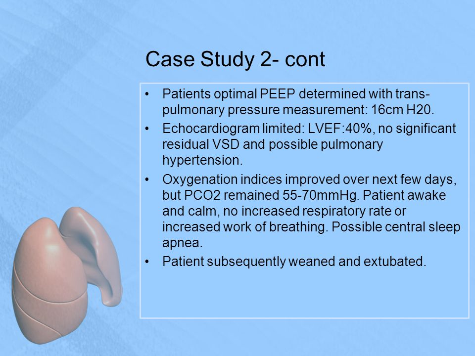 Case Study 2- cont Patients optimal PEEP determined with trans- pulmonary pressure measurement: 16cm H20.