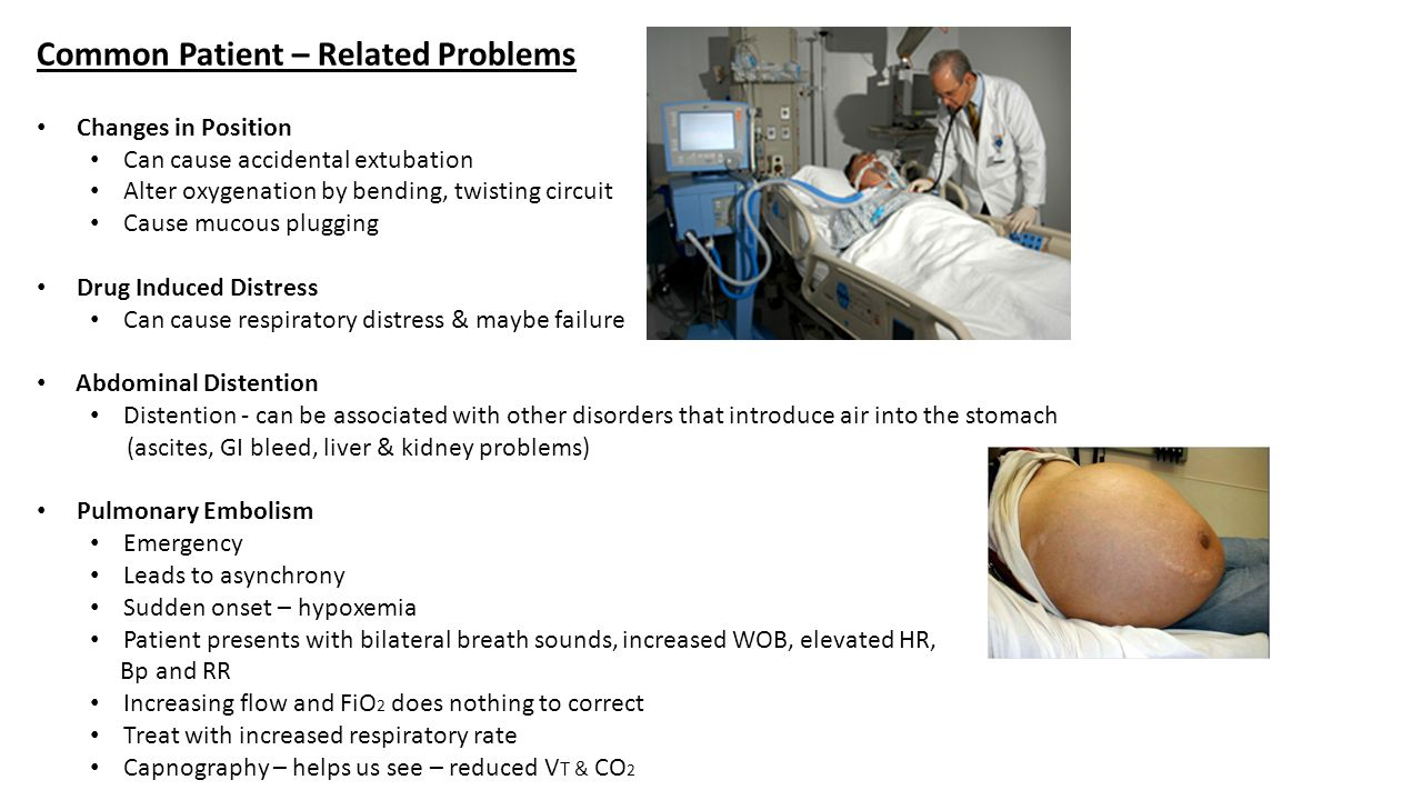 Is patient disconnected Is there a leak in the circuit Is there a cuff leak Is there a chest tube leak Is proximal airway pressure line obstructed Is the flow sensor malfunctioning Alarm set inappropriately Check manual/contact trained specialist yes Reconnect Repair/replace circuit Reinflate cuff/check it's pressure –replace tube if necessary NoNo Contact physician/monitor pt Clear the line 1.Clear sensor & recalibrate it 2.Clear sensor line & recheck 3.Check sensor function & replace sensor if necessary yes Reset yes Low pressure.