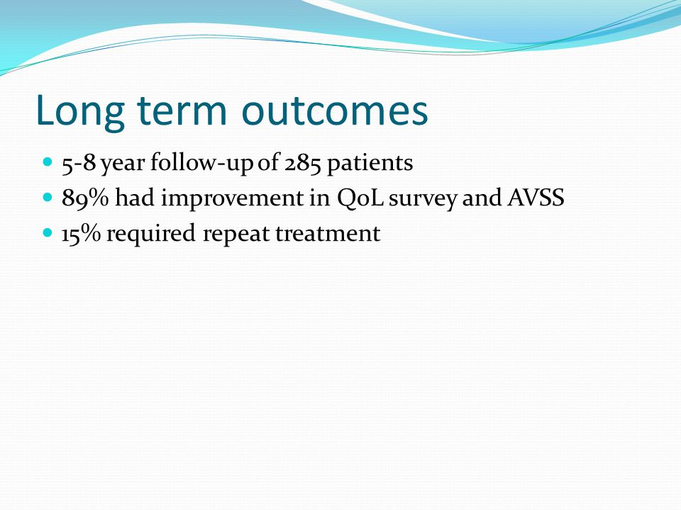 Long term outcomes 5-8 year follow-up of 285 patients 89% had improvement in QoL survey and AVSS 15% required repeat treatment