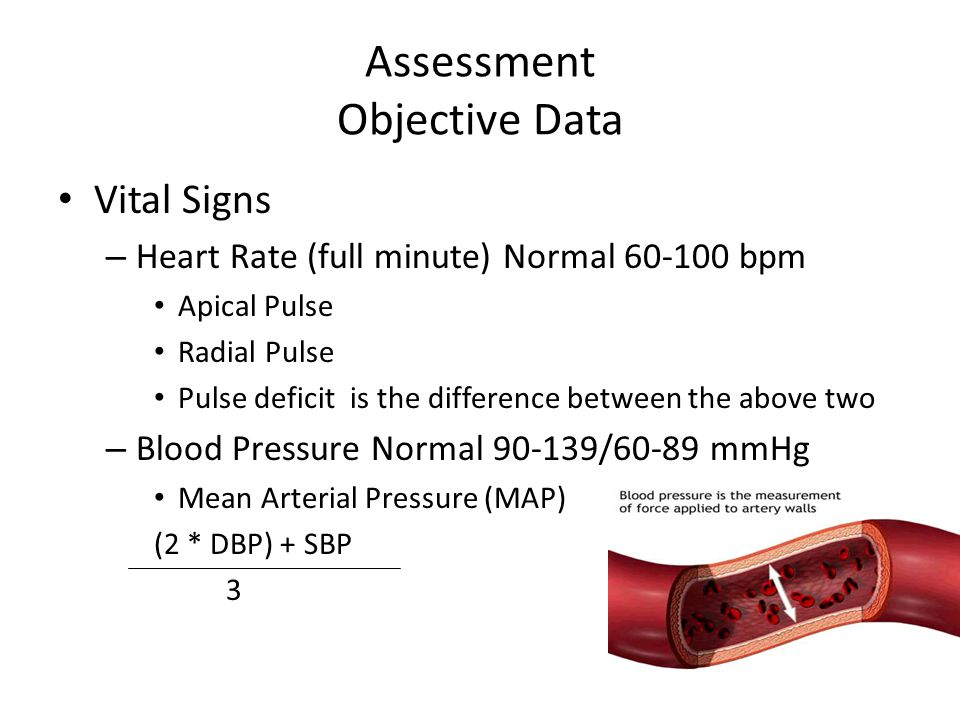 Assessment Objective Data Vital Signs – Heart Rate (full minute) Normal 60-100 bpm Apical Pulse Radial Pulse Pulse deficit is the difference between t