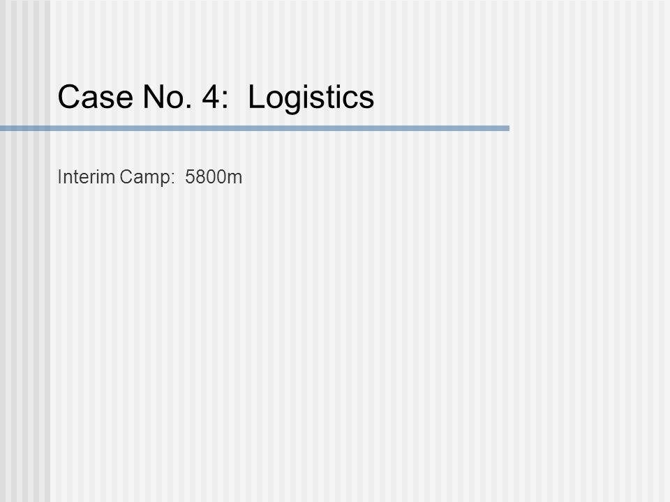 Case No. 4: Logistics Interim Camp: 5800m