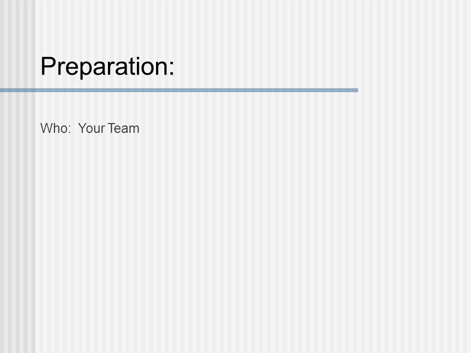 Preparation: Who: Your Team