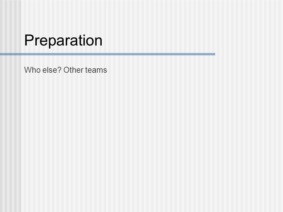 Preparation Who else Other teams