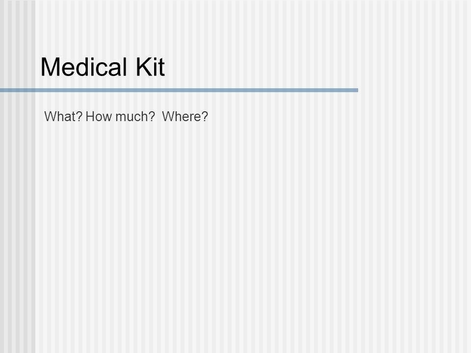 Medical Kit What? How much? Where?