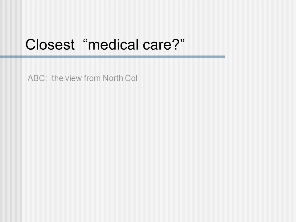 "Closest ""medical care?"" ABC: the view from North Col"