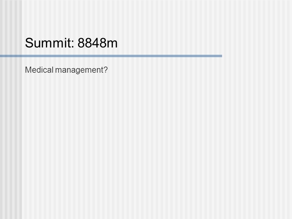 Summit: 8848m Medical management