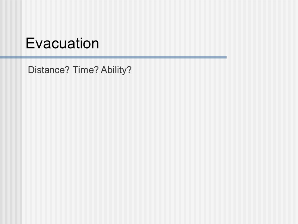 Evacuation Distance? Time? Ability?