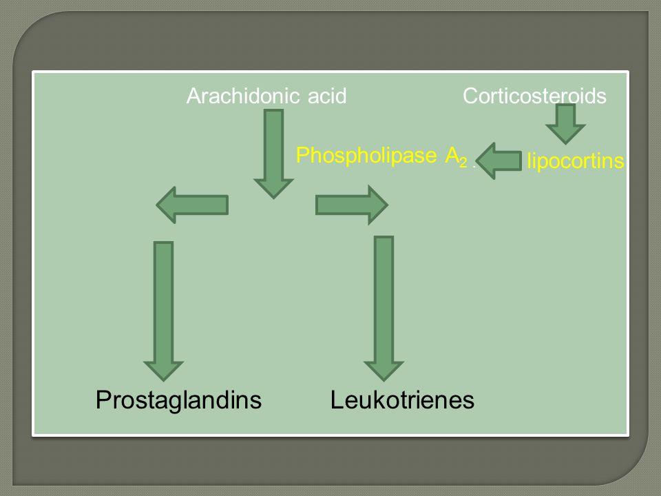 Arachidonic acid Corticosteroids Phospholipase A 2. Prostaglandins Leukotrienes lipocortins