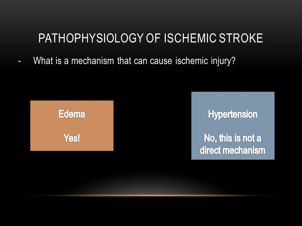 PATHOPHYSIOLOGY OF ISCHEMIC STROKE - What is a mechanism that can cause ischemic injury