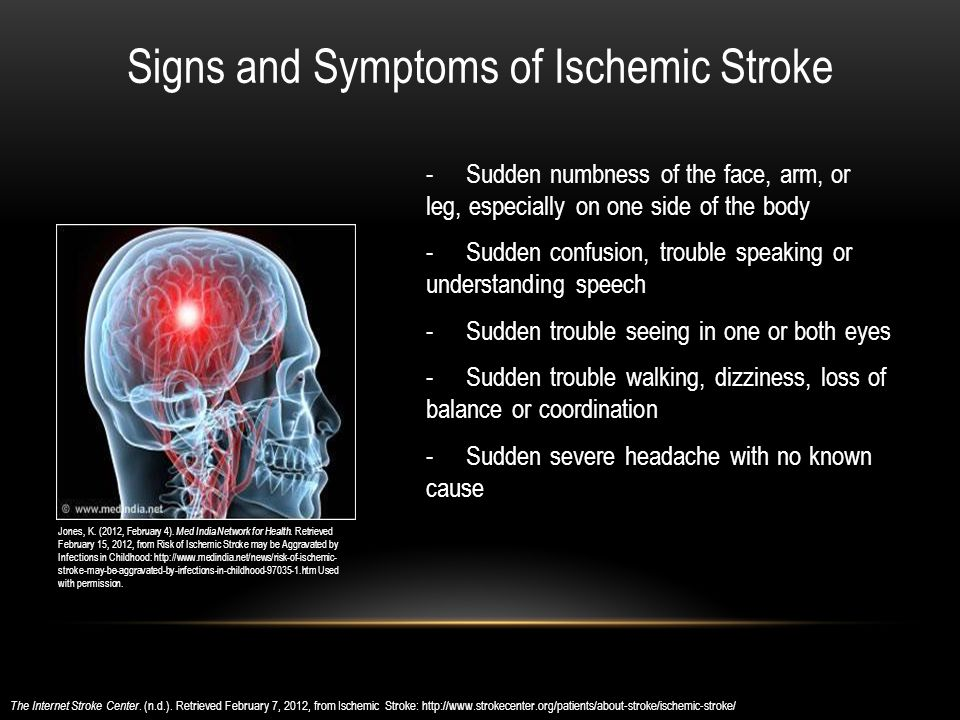 - Sudden numbness of the face, arm, or leg, especially on one side of the body - Sudden confusion, trouble speaking or understanding speech - Sudden trouble seeing in one or both eyes - Sudden trouble walking, dizziness, loss of balance or coordination - Sudden severe headache with no known cause The Internet Stroke Center.
